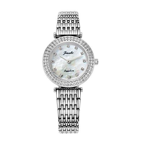 jiusko Luxus Analog Quarz Uhren fuer Frauen Armband Hand Handgelenk Silber Diamant Fashion Edelstahl Perlmutt wasserabweisend