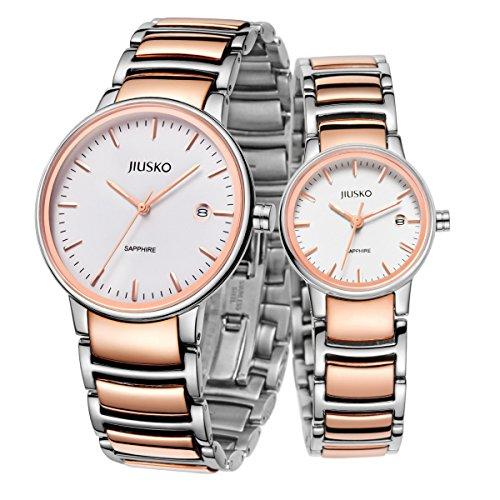 jiusko Luxus Damen Analog Quarz Armbanduhr Rose Gold Silber Edelstahl zweifarbig Diamant Akzent Mutter Of Pearl wasserabweisend