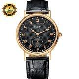 jiusko Herren Classic Analog Quarz Armbanduhr Saphir roemischen Ziffern Rose Gold Schwarz Zifferblatt Schwarz Leder Schlaufe Zweite Hand 132 mrg0202