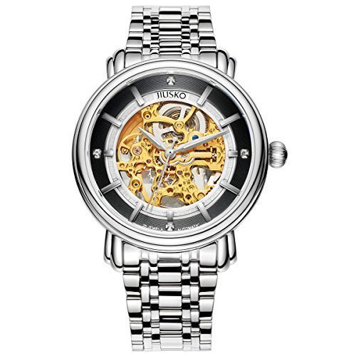 jiusko Luxus Herren Automatik Skelett Kleid Sie 20 Juwel Gold Zifferblatt Edelstahl Saphir 210lsg02