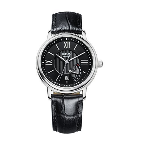 jiusko Damen Kleid Classic Handgelenk Armbanduhr analog Quarz Bewegung Retrograde Tag und Datum Runde Schwarz Gesicht mit schwarzem Lederband Saphir 115s0202