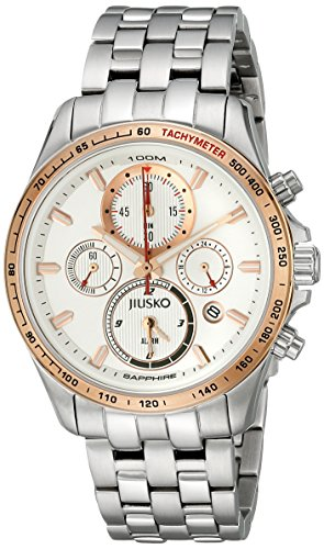 Jiusko Mens 108MSRG01 Speedmaster Serie Analog Quarz Uhr Display Silber