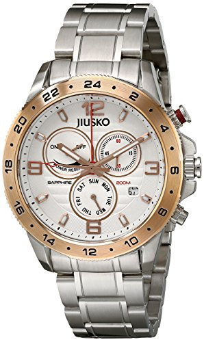 Jiusko Mens 128LSRG01 Deep Sea Serie Analog Quarz Uhr Display Silber