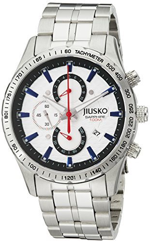 Jiusko Mens 62LS01 Speedmaster Serie Analog Quarz Uhr Display Silber