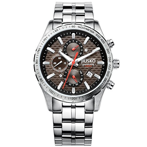 Jiusko Mens 62LS07 Speedmaster Serie Analog Quarz Uhr Display Silber