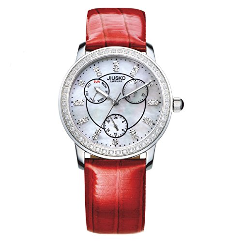 jiusko Frauen Diamant Farben Quarz 24 Hr Perlmutt Armbanduhr Leder rot