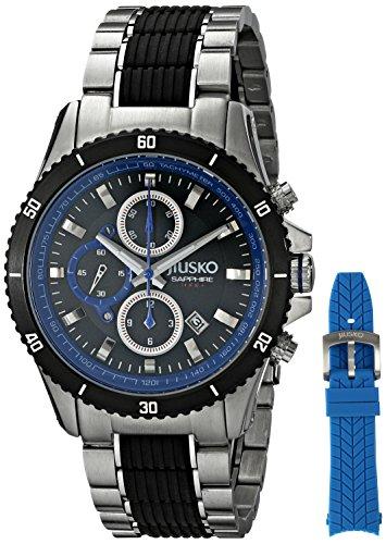 JIUSKO Herren Armbanduhr Armband Silikon Blau Gehaeuse Edelstahl Synthetisches Saphir Quarz 65LSB08