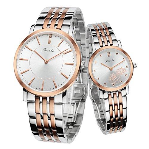JIUSKO fuer Sie und Ihn Paar Slim Quartz Wrist Watch 520MSSRG01 Set