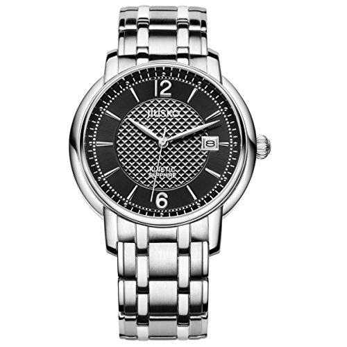jiusko Herren Kinetic Exhibition CaseBack Edelstahl Armbanduhr Kleid Silber 150ls02