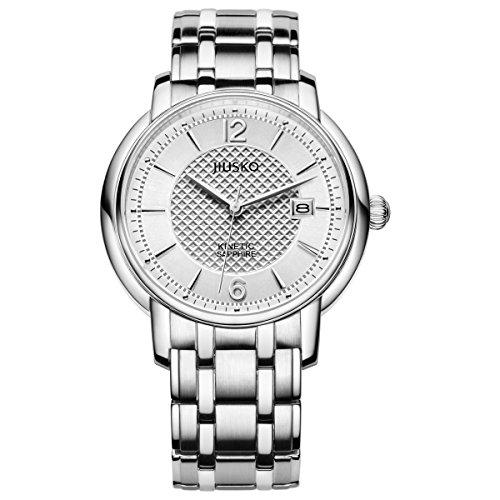 jiusko Herren Kinetic Exhibition CaseBack Edelstahl Armbanduhr Kleid Silber 150ls01