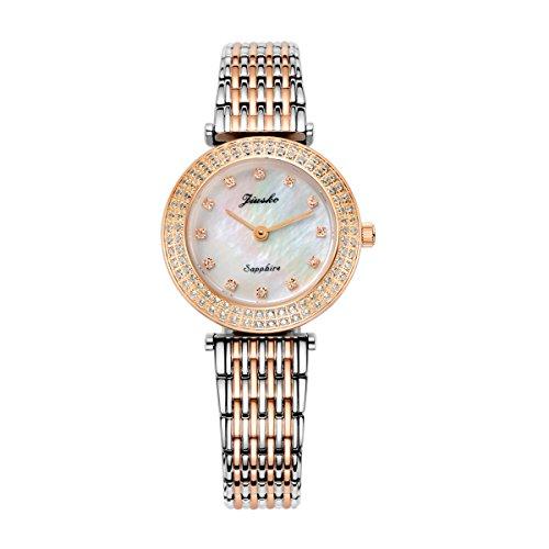 jiusko Luxus Quarz Analog Zweifarbig Uhren fuer Frauen Rose Gold Automatischer vergoldet Diamant Edelstahl Perlmutt Wasserdicht