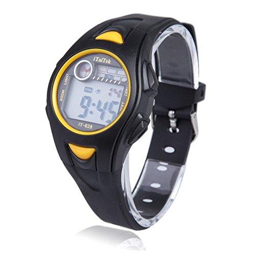 Kinder Armbanduhr iTaiTek Kinder Jungen Maedchen Schwimmen Sport Digital Armbanduhr IT 628 Wasserdicht schwarz gelb
