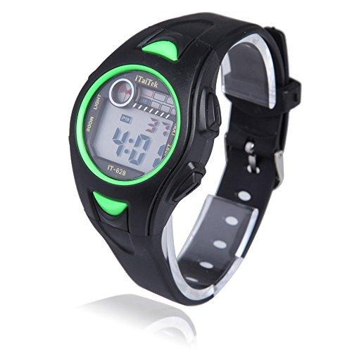 Kinder Armbanduhr iTaiTek Kinder Jungen Maedchen Schwimmen Sport Digital Armbanduhr IT 628 Wasserdicht schwarz gruen