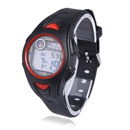 Kinder Armbanduhr iTaiTek Kinder Jungen Maedchen Schwimmen Sport Digital Armbanduhr IT 628 Wasserdicht schwarz rot