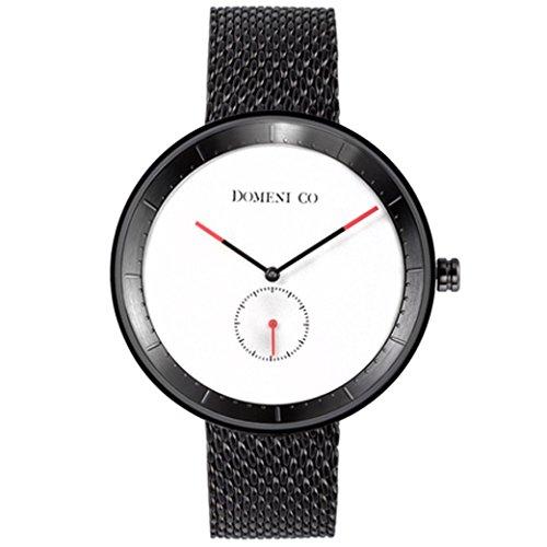 domeni CO BLM01 Unisex Signature Series Edelstahl schwarz Mesh Armband Weiss Zifferblatt Uhr