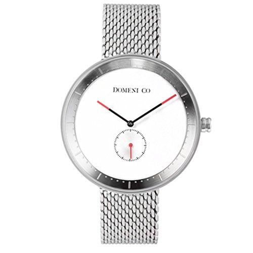domeni CO ssm01 Unisex Signature Series Edelstahl Silber Mesh Armband Band weiss Zifferblatt Uhr