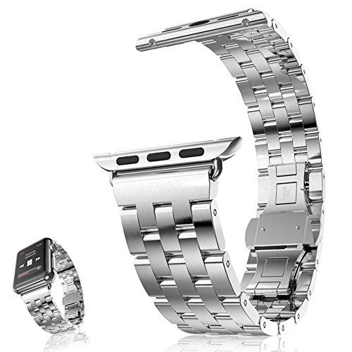 Apple Watch Band awstech 42 mm Edelstahl Ersatz Strap Doppel Button Metall Schliesse Classic iWatch Armband fuer Apple Watch Alle Modelle Silber