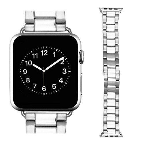 Apple Watch Band awstech 42 mm Edelstahl Ersatz Smart Watch Band Wrist Strap Armband mit Schmetterling Schnalle Schliesse fuer Apple Watch Alle Modelle Silber
