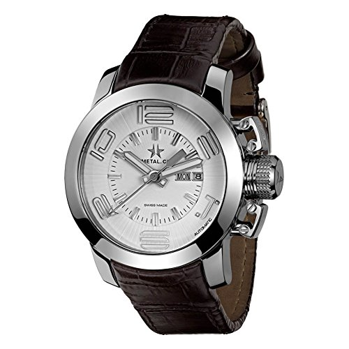 METAL Chronometrie Swiss Made Uhr GRAND silber 44mm