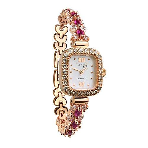 Langii Lrg1514b16pk Damen Armbanduhr mit Schmucksteinen Rotgold vergoldet