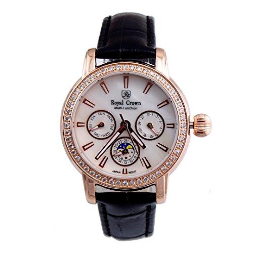 langii rg6419l schwarz Leder Damen Handgelenk Uhren Rose Gold Luxus Vergoldung