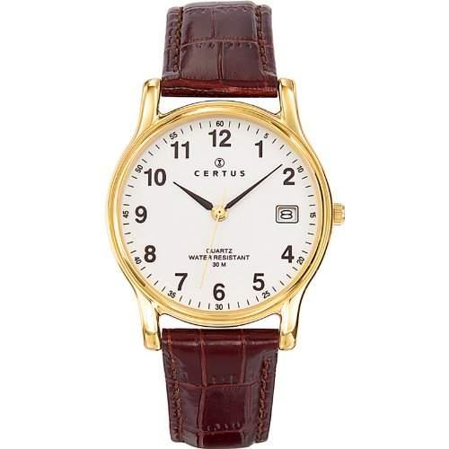 Certus Herren-Armbanduhr 611235 Analog Leder Braun