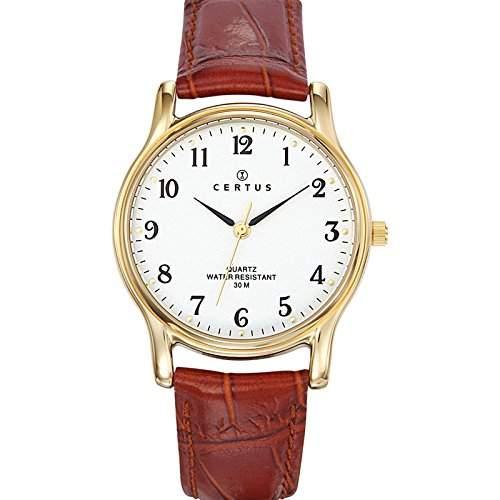 Certus-612244-Armbanduhr-Quarz Analog-Weisses Ziffernblatt-Armband Leder braun