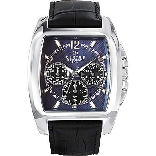 - 613107 Certus Herren-Armbanduhr Lolla Quarz analog Leder Blau, blau