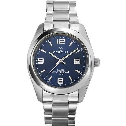 Certus-Comfortkissen 615317-men-Armbanduhr Analog Quarz Silber Zifferblatt Stahl Strap, blau