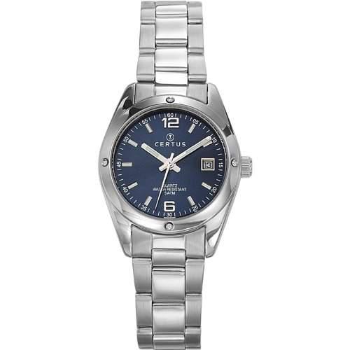 Certus-641317Damen-Armbanduhr-Quarz Analog-Zifferblatt Blau Armband Metall silber