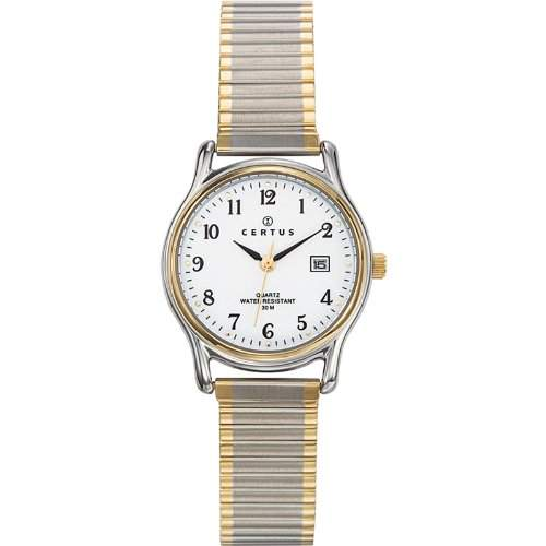Certus-642318Damen-Armbanduhr 045J699Analog weiss Armband Metall Zweifarbig
