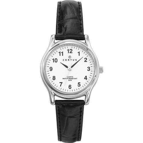 Certus-644384Damen-Armbanduhr-Quarz Analog-Weisses Ziffernblatt-Armband Leder Schwarz