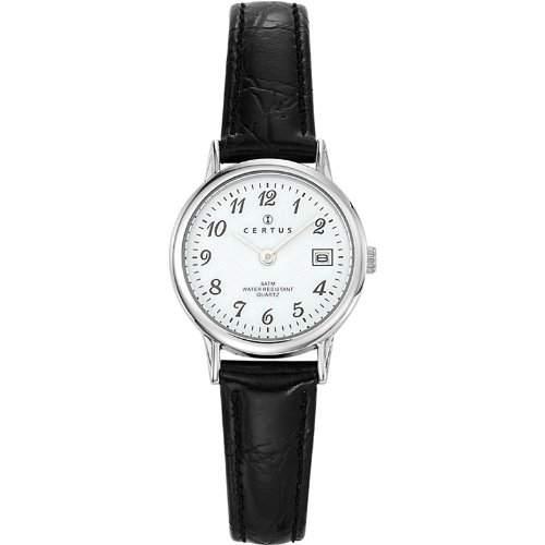 Certus-644391Damen-Armbanduhr-Quarz Analog-Weisses Ziffernblatt-Armband Leder Schwarz