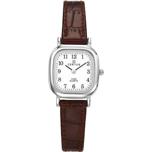 Certus-644406Damen-Armbanduhr-Quarz Analog-Weisses Ziffernblatt-Armband Leder braun