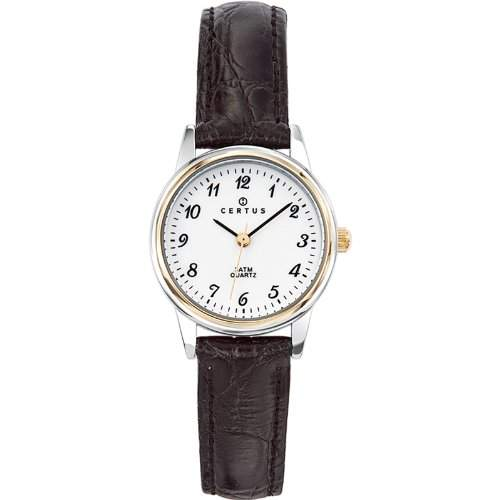 Certus-645302Damen-Armbanduhr-Quarz Analog-Weisses Ziffernblatt-Armband Leder Schwarz