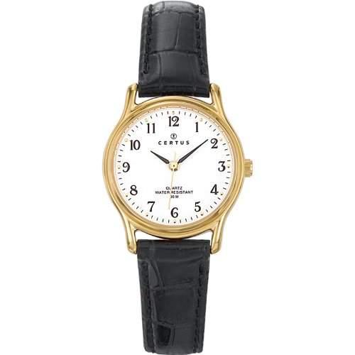 Certus-646232Damen-Armbanduhr-Quarz Analog-Weisses Ziffernblatt-Armband Leder Schwarz