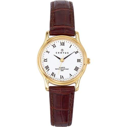 Certus-646241Damen-Armbanduhr-Quarz Analog-Weisses Ziffernblatt-Armband Leder braun