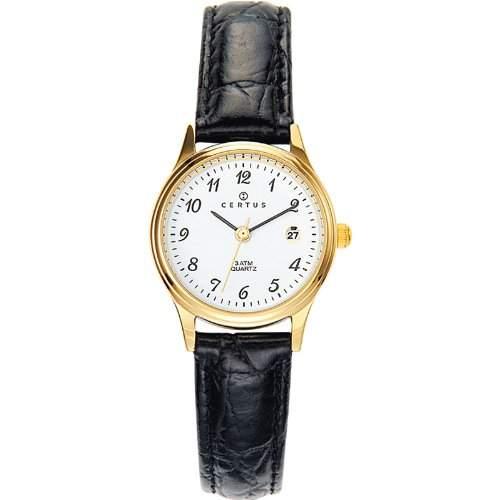 Certus-646459Damen-Armbanduhr-Quarz Analog-Weisses Ziffernblatt-Armband Leder Schwarz