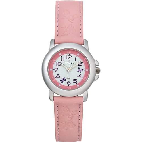 Certus-647374-Zeigt Kinder-Quartz Analog-Weisses Ziffernblatt-Armband Leder rosa