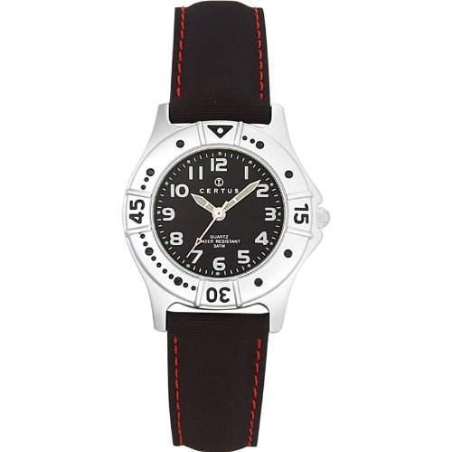Certus-647398-Zeigt Kinder-Quarz-Analog Zifferblatt schwarz Armband PU schwarz