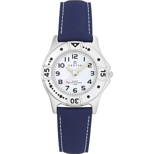 Certus-Comfortkissen-647401-Armbanduhr Analog Quarz Weiss Zifferblatt PU strap-blue
