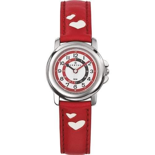 Certus-Comfortkissen-Lehre des 647451-children Quarz watch-white face-red Lederband