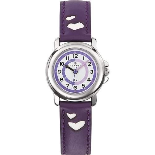 Certus-647452-Zeigt Kinder-Quartz Paedagogische-Weisses Ziffernblatt-Armband Leder violett