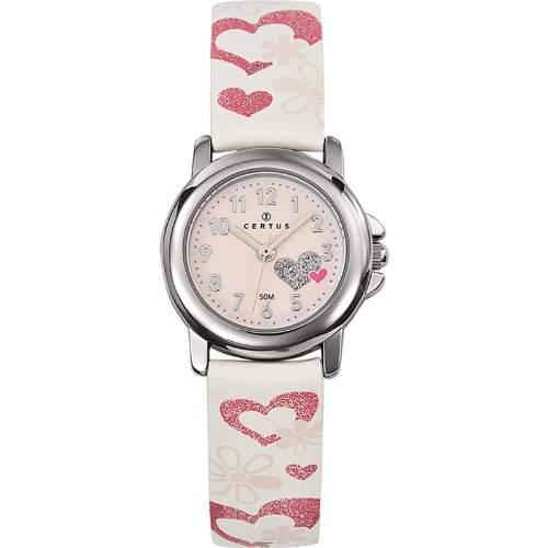 Certus-647455-Zeigt Kinder-Quartz Analog-Zifferblatt Rosa Armband Leder weiss