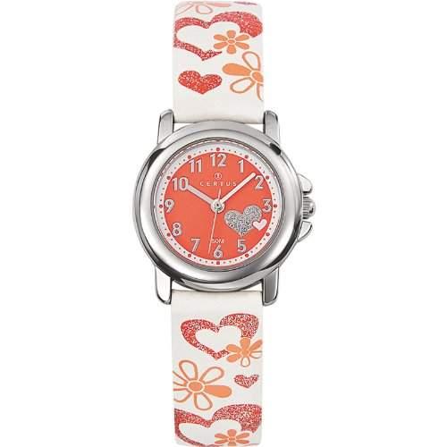 Certus-647456-Zeigt Kinder-Quartz Analog-Zifferblatt Rot Armband Leder weiss