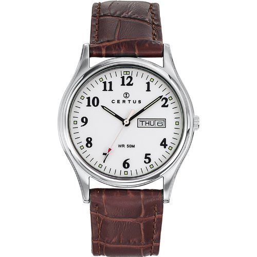 Certus 610483 Armbanduhr Quarz Analog Weisses Ziffernblatt Armband Leder braun