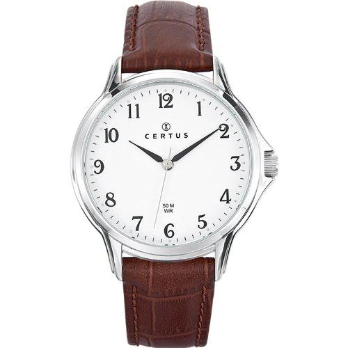 Certus 610882 Armbanduhr Quarz Analog Weisses Ziffernblatt Armband Leder braun