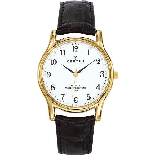 Certus 611240 Armbanduhr Quarz Analog Weisses Ziffernblatt Armband Leder Schwarz