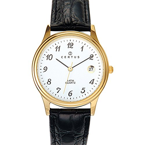 Certus 612216 Armbanduhr Quarz Analog Weisses Ziffernblatt Armband Leder Schwarz