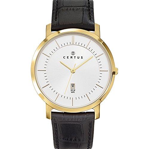 Certus 612358 Armbanduhr Quarz Analog Zifferblatt Silber Armband Leder Schwarz